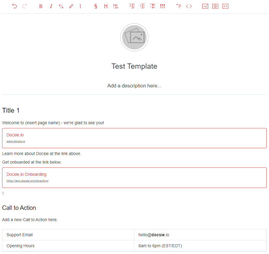 Live Template in the Docsie Editor
